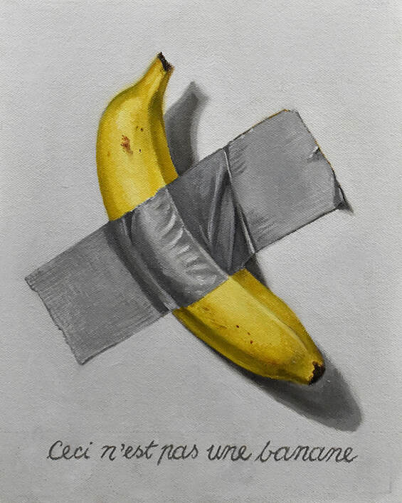 Painting above by master artist Jim Serrett using the harmonic armature to frame in the banana. Also, notice how the artist is using horizontal divisions derived from the armature to lock in the text at the bottom of the painting.